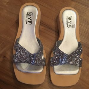 Beautiful silver Sequence slip on  Sandals